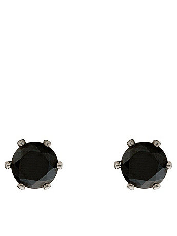 Black Crystal Silver Plated Stud Earrings