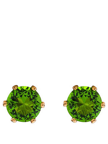Green Crystal Gold Plated Stud Earrings