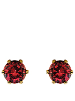 Garnet Crystal Gold Plated Stud Earrings