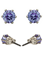 Light Purple Crystal Silver Plated Stud Earrings