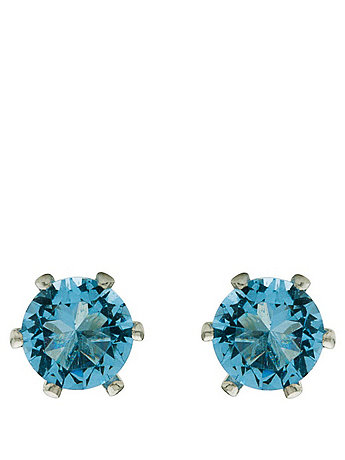 Navy Crystal Silver Plated Stud Earrings
