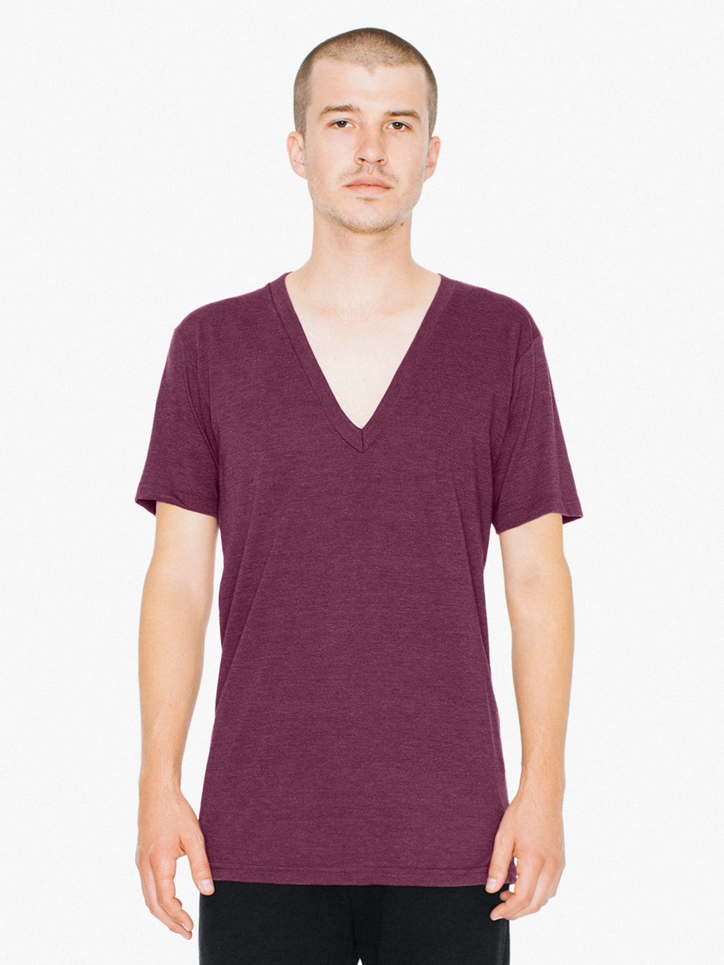 Tri-Blend Deep V-Neck T-Shirt | Tuggl