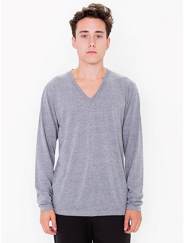 Tri-Blend V-Neck Long Sleeve T-Shirt