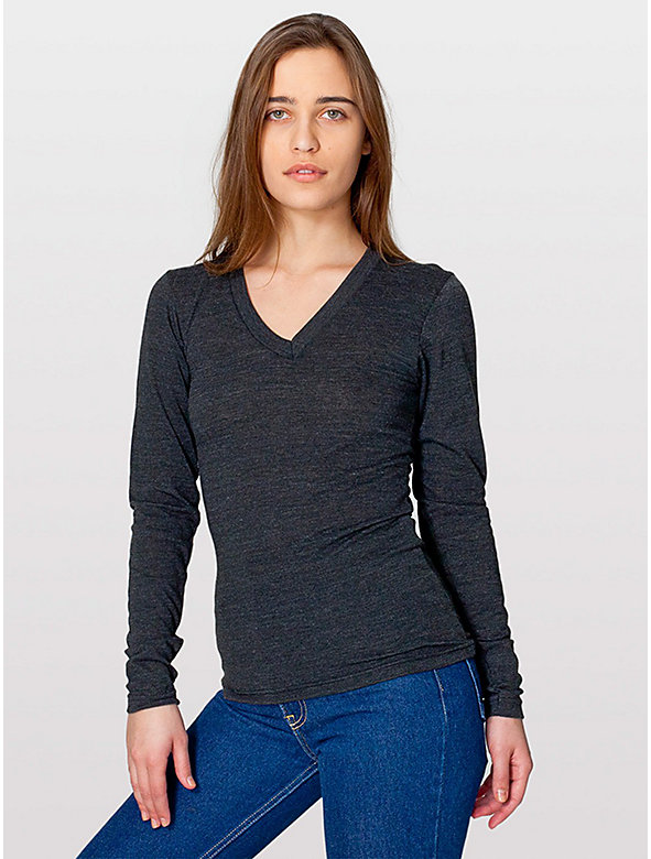 Unisex Tri-Blend V-Neck Long Sleeve T-Shirt