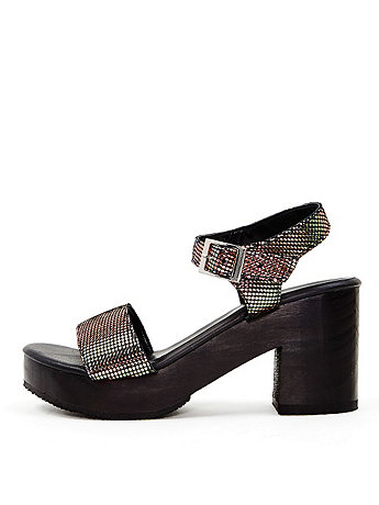 Metallic Wooden Heel Sandal