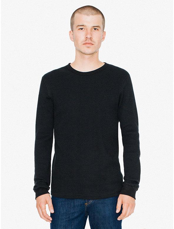 Waffle thermal crewneck long sleeve t shirt american apparel for Thermal t shirt long sleeve