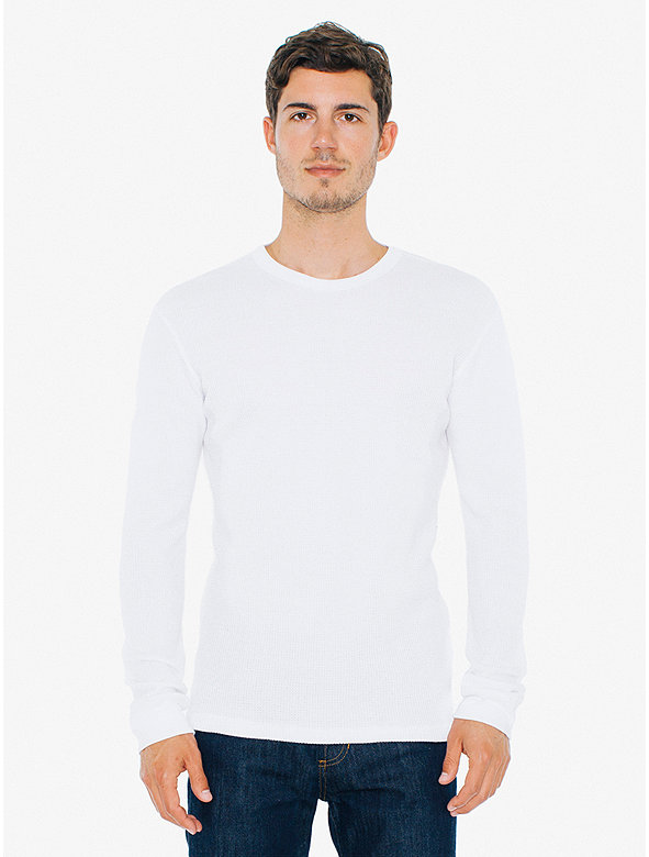 Waffle Thermal Crewneck Long Sleeve T Shirt American Apparel