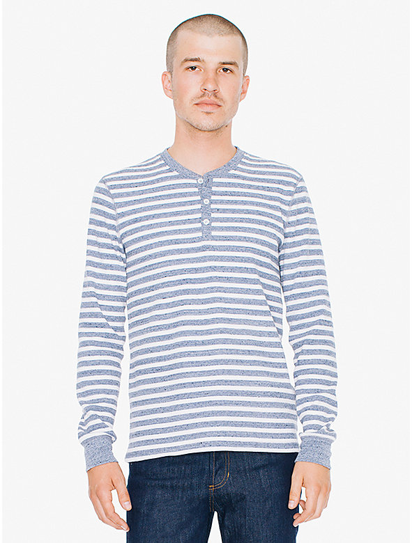 Striped Waffle Thermal Henley Long Sleeve T-Shirt