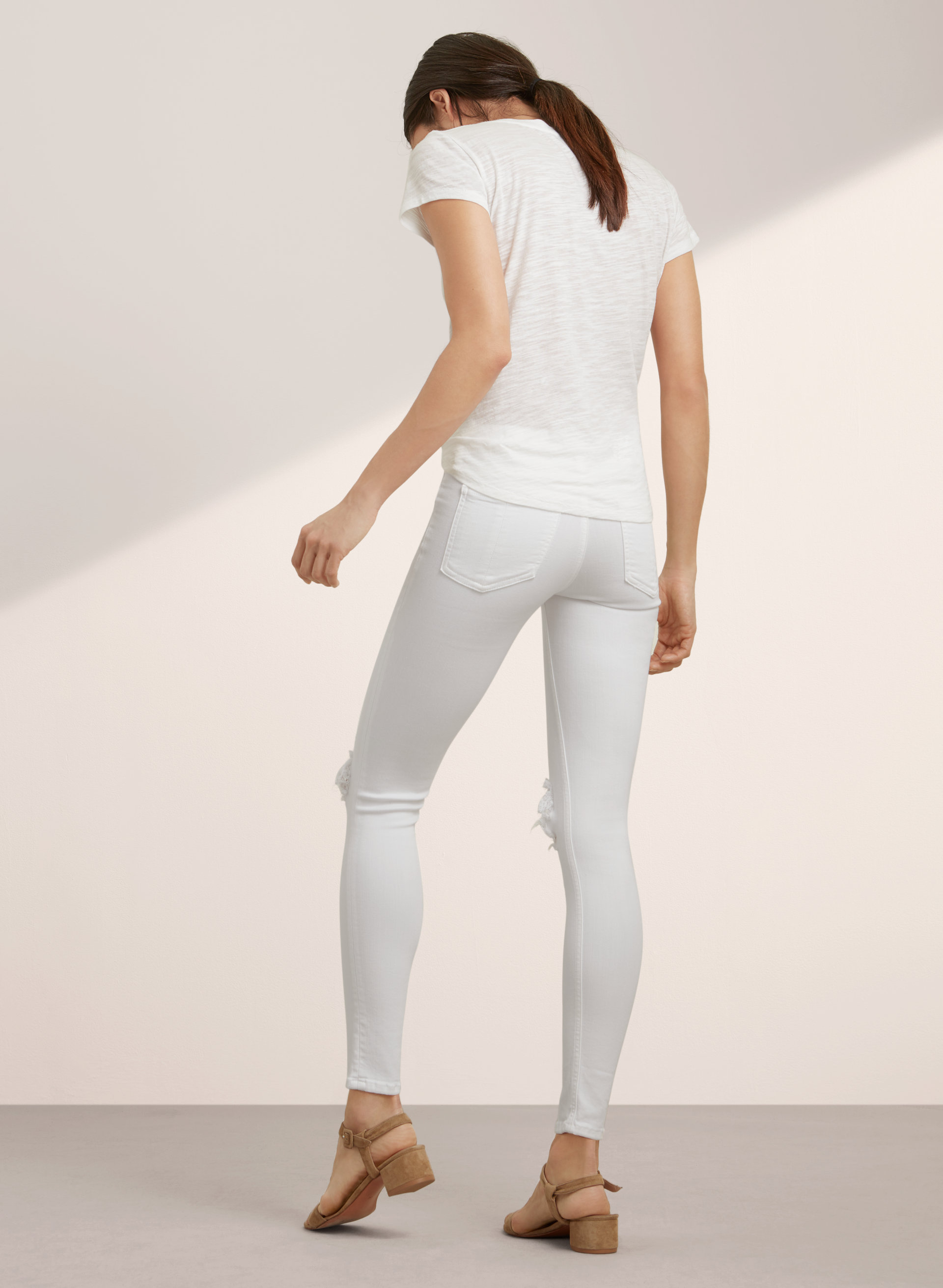 & Bone/JEAN CAPRI WHITE WITH HOLES | Aritzia