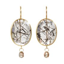 Mallary Marks - Tourmalated Quartz & Brown Diamond Double Stone Earrings