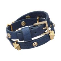 Fallon Skinny Leather Wrap Bracelet with Pyramid Studs