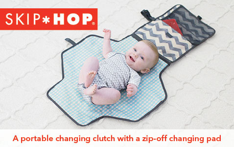 A portable changing clutch with a zip-off changing pad.