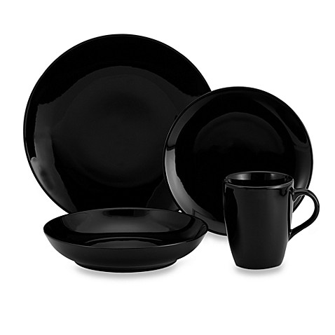 Black Coupe 16-Piece Dinnerware Set