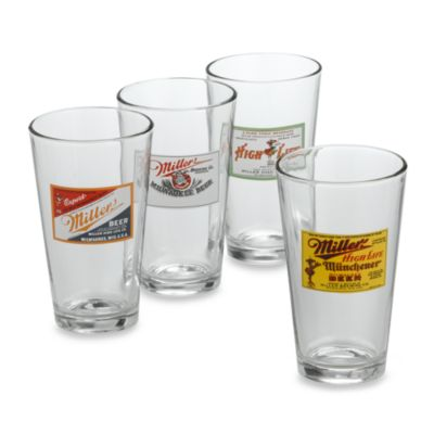 Retro Miller 12-Ounce Glasses (Set of 4)