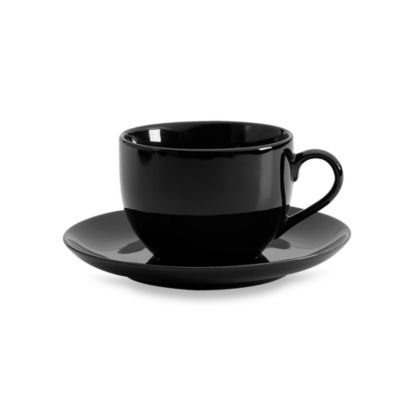 Black Coupe Cup and Saucer (Set of 6)
