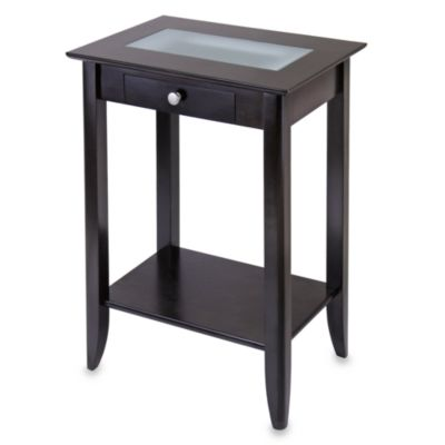 Loren Side Table with Frosted Glass Tile and Drawer