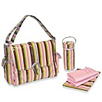 Kalencom® Laminated Buckle Pink Monkey Stripe Diaper Bag