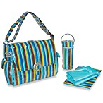 Kalencom® Laminated Buckle Blue Monkey Stripe Diaper Bag
