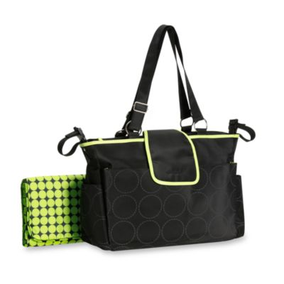 Carter's® Out and About Tonal Dot Diaper Bag in Black and Lime