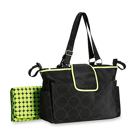 carter 39 s out and about tonal dot diaper bag in black and lime bed bath. Black Bedroom Furniture Sets. Home Design Ideas