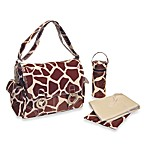 Kalencom® Coated Double Buckle Chocolate and Cream Giraffe Diaper Bag