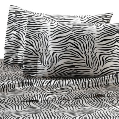 Satin Luxury Zebra California King Sheet Set
