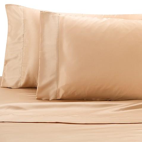 satin luxury full sheet set in gold bed bath beyond