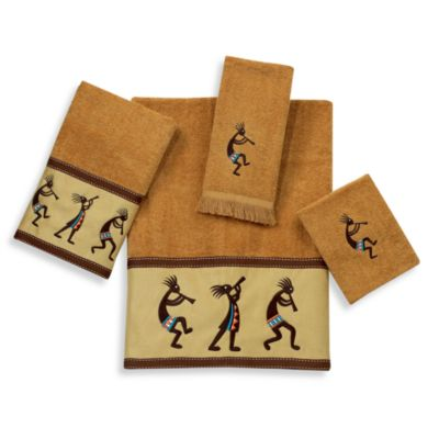 Kokopelli Fingertip Towel in Nutmeg