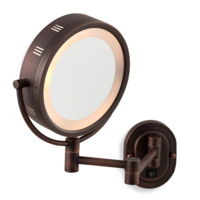 Jerdon 5X/1X Bronze Lighted Hardwired Wall Mount Mirror