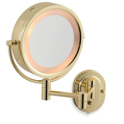 Jerdon 5X/1X Brass Lighted Wall Mount Mirror