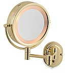 Jerdon 5X/1X Brass Lighted Hardwired Wall Mount Mirror