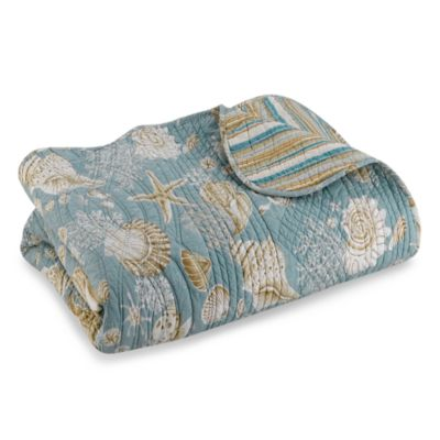 Natural Shells Reversible Full/Queen Quilt in Blue/Beige