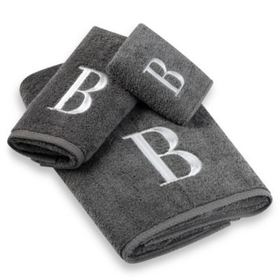 Avanti Premier Silver Block Monogram Hand Towels in Granite