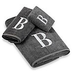 Avanti Premier Silver Block Monogram Bath Towels in Granite