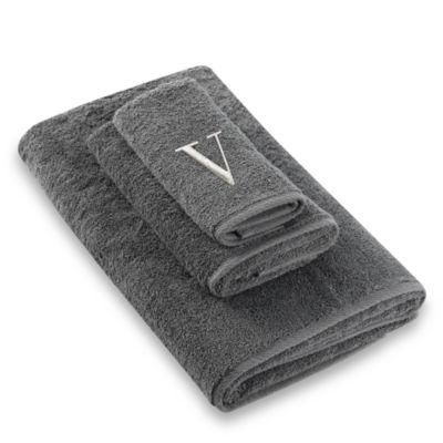 """Avanti Premier Silver Block Monogram Letter """"V"""" Bath Towel in Granite"""