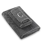 "Avanti Premier Silver Block Monogram Letter ""C""  Bath Towel in Granite"