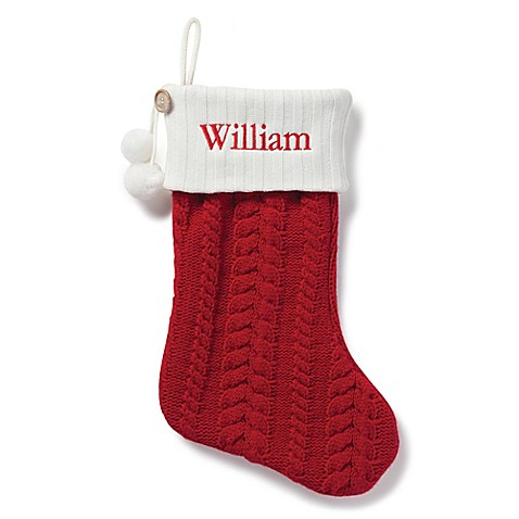 Cable Knit 20 Inch Christmas Stocking In Red Www