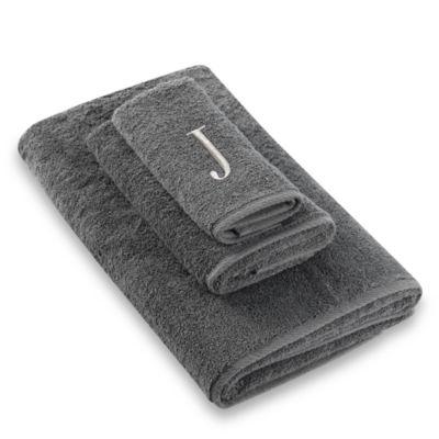 "Avanti Premier Silver Block Monogram Letter ""J"" Fingertip Towel in Granite"