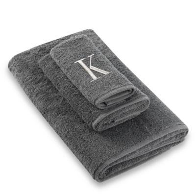 "Avanti Premier Silver Block Monogram Letter ""K"" Fingertip Towel in Granite"