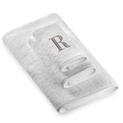 "Avanti Premier Silver Block Monogram Letter ""R"" Hand Towel in White"