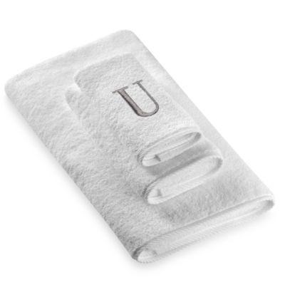 "Avanti Premier Silver Block Monogram Letter ""U"" Hand Towel in White"