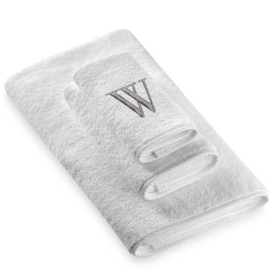 "Avanti Premier Silver Block Monogram Letter ""W"" Hand Towel in White"