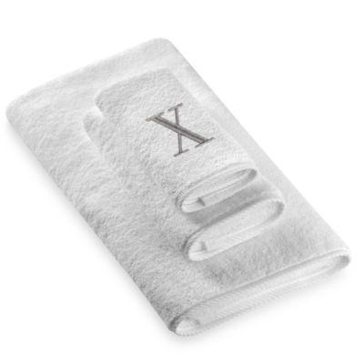 "Avanti Premier Silver Block Monogram Letter ""X"" Hand Towel in White"