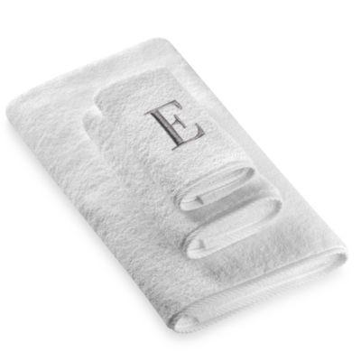 "Avanti Premier Silver Block Monogram Letter ""E"" Hand Towel in White"