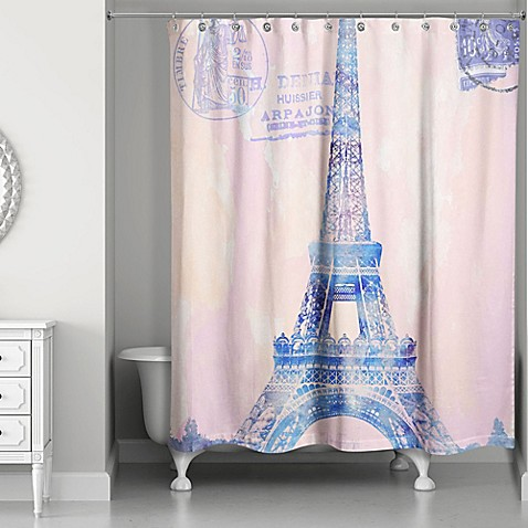 Designs Direct Watercolor Paris Shower Curtain In Pink