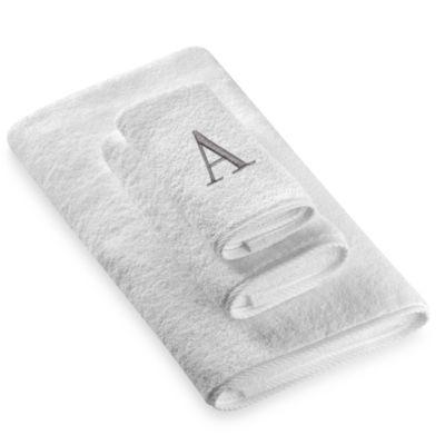 "Avanti Premier Silver Block Monogram Letter ""A"" Hand Towel in White"