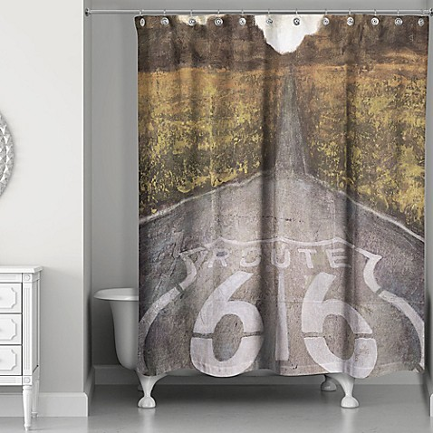 Designs Direct Route 66 Shower Curtain In Black White