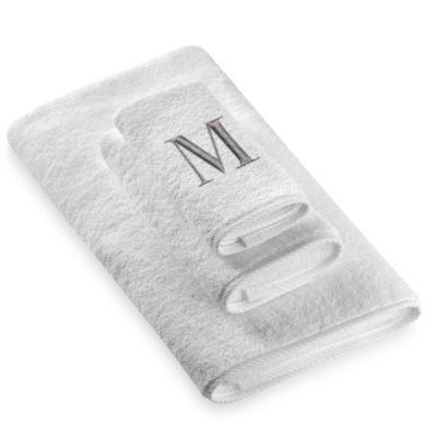 "Avanti Premier Silver Block Monogram Letter ""M"" Hand Towel in White"