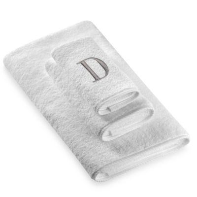 "Avanti Premier Silver Block Monogram Letter ""D"" Hand Towel in White"