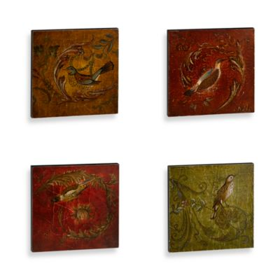Birds and Swirls Wall Art (Set of 4)